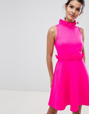 photo Ruffle Waist Skater Dress by Ted Baker, color Neon Pink - Image 1