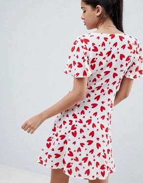 photo Mini Tea Dress with Button Through in Heart Print by ASOS DESIGN, color Multi - Image 2