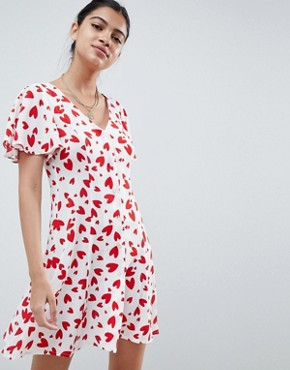 photo Mini Tea Dress with Button Through in Heart Print by ASOS DESIGN, color Multi - Image 1