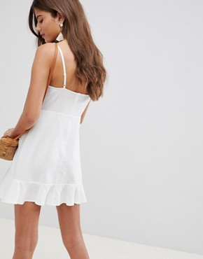 photo Linen Tie Front Skater Mini Sundress by ASOS DESIGN, color White - Image 2