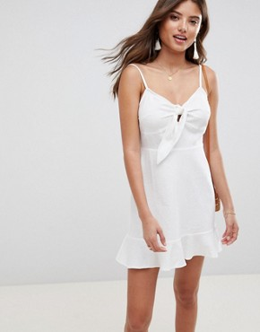 photo Linen Tie Front Skater Mini Sundress by ASOS DESIGN, color White - Image 1