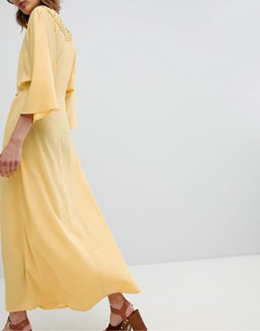 photo Maxi Dress with Crochet Trim by ASOS DESIGN, color Yellow - Image 2