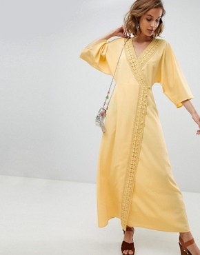 photo Maxi Dress with Crochet Trim by ASOS DESIGN, color Yellow - Image 1