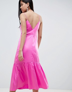 photo Pep Hem Midi Satin Slip Dress by ASOS DESIGN, color Pink - Image 2