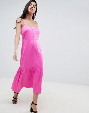 photo Pep Hem Midi Satin Slip Dress by ASOS DESIGN, color Pink - Image 1