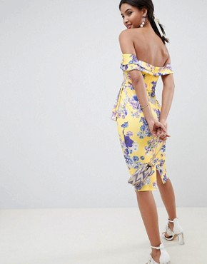 photo Bardot Fold Wrap Front Midi Dress in Print by ASOS DESIGN, color Yellow Floral - Image 2