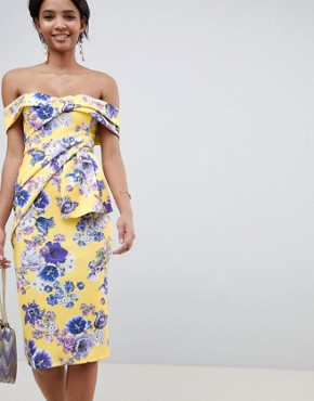 photo Bardot Fold Wrap Front Midi Dress in Print by ASOS DESIGN, color Yellow Floral - Image 1