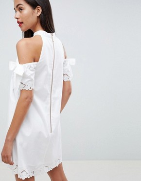 photo Embroidered Cold Shoulder Dress by Ted Baker, color White - Image 2