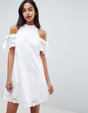 photo Embroidered Cold Shoulder Dress by Ted Baker, color White - Image 1