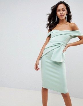 photo Bardot Fold Wrap Front Midi Dress by ASOS DESIGN, color Sage - Image 1