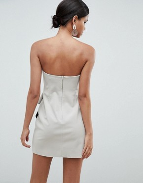 photo Bonded Bandeau Origami Front Mini Dress by ASOS DESIGN, color Stone - Image 2