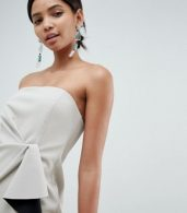 photo Bonded Bandeau Origami Front Mini Dress by ASOS DESIGN, color Stone - Image 3