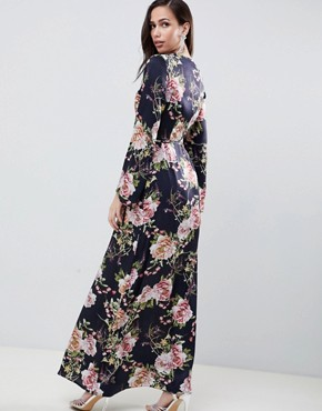photo Satin Wrap Maxi Dress in Navy Floral Print by ASOS DESIGN, color Navy Floral - Image 2