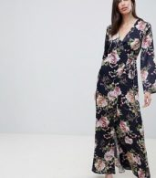 photo Satin Wrap Maxi Dress in Navy Floral Print by ASOS DESIGN, color Navy Floral - Image 4