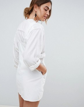 photo Button Through Dungaree Dress in White by Mango, color White - Image 2