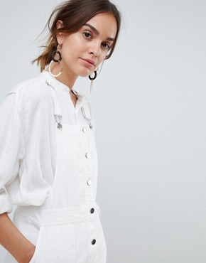 photo Button Through Dungaree Dress in White by Mango, color White - Image 3