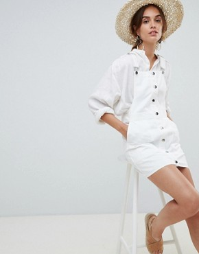 photo Button Through Dungaree Dress in White by Mango, color White - Image 4