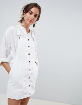 photo Button Through Dungaree Dress in White by Mango, color White - Image 1
