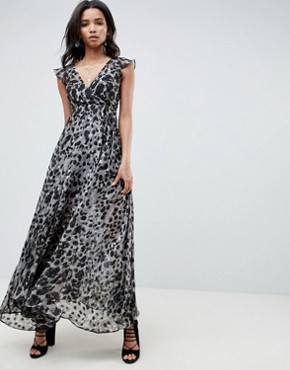 photo Plunge Maxi Dress in Leopard by Religion, color Raw Grey - Image 1