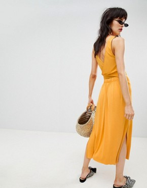 photo Tie Back Midi Dress in Yellow by Mango, color Yellow - Image 2