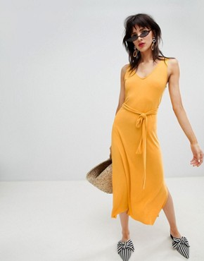 photo Tie Back Midi Dress in Yellow by Mango, color Yellow - Image 1