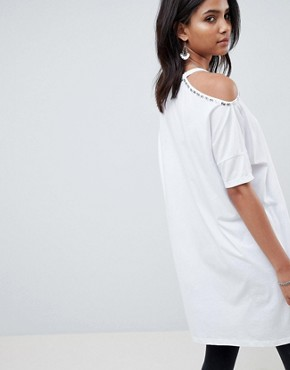 photo Cold Shoulder Dress with Floral Detail by Religion, color White - Image 2