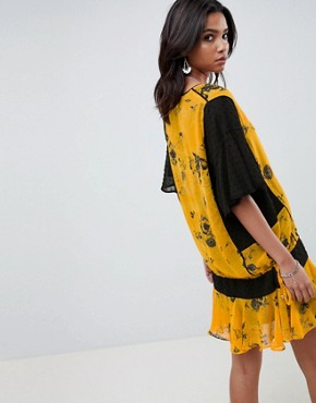 photo Drop Waist Shift Dress in Floral by Religion, color Cadmium Yellow - Image 2