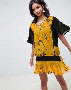 photo Drop Waist Shift Dress in Floral by Religion, color Cadmium Yellow - Image 1