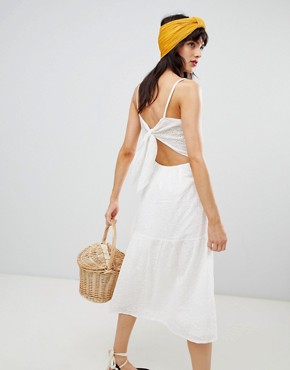 photo Knot Back Broderie Sundress in White by Mango, color White - Image 2