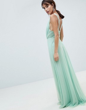 photo Pleated Tulle Maxi Dress with Lace Back by ASOS DESIGN, color Mint - Image 2