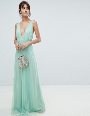photo Pleated Tulle Maxi Dress with Lace Back by ASOS DESIGN, color Mint - Image 1
