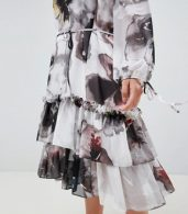 photo Long Sleeve Layered Midi Dress in Oversized Floral by Religion Plus, color Deep Merlot - Image 3