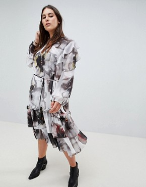 photo Long Sleeve Layered Midi Dress in Oversized Floral by Religion Plus, color Deep Merlot - Image 4