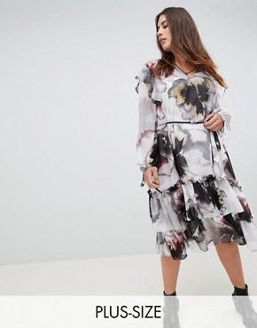 photo Long Sleeve Layered Midi Dress in Oversized Floral by Religion Plus, color Deep Merlot - Image 1