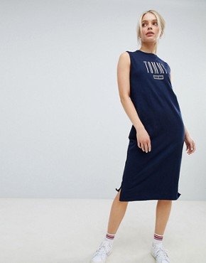 photo Tank Midi Dress by Tommy Hilfiger, color Black Iris - Image 1