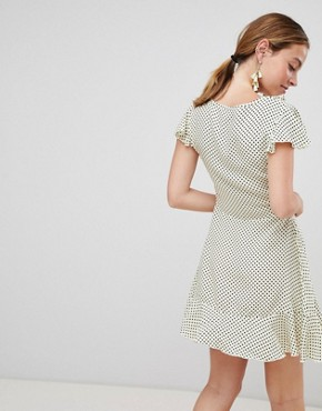 photo Polka Dot Wrap Dress by Missguided Petite, color Yellow Polka - Image 2