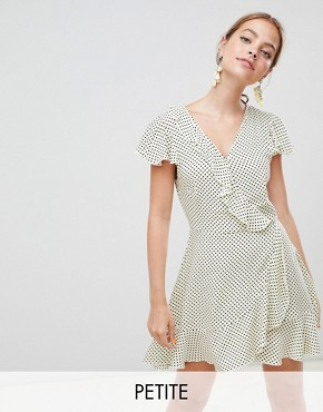 photo Polka Dot Wrap Dress by Missguided Petite, color Yellow Polka - Image 1