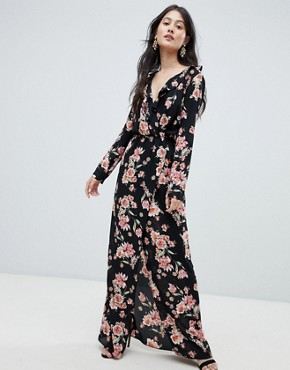photo Frilled Neck Maxi Dress in Floral Print by Oh My Love, color Black/Orange - Image 1