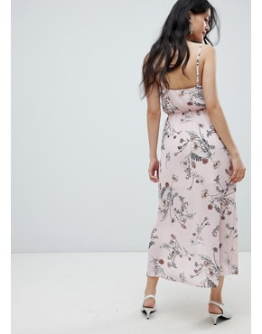 photo Buttoned Cami Maxi Dress in Floral Print by Oh My Love, color Pink Floral - Image 2