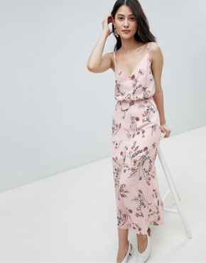 photo Buttoned Cami Maxi Dress in Floral Print by Oh My Love, color Pink Floral - Image 1