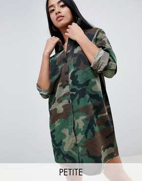 photo Camo Shirt Dress by Missguided Petite, color Green - Image 1