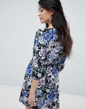 photo Frilled Neck Mini Skater Dress in Floral Print by Oh My Love, color Black/Blue Print - Image 2