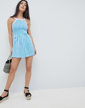 photo Stripe Summer Dress by Missguided Petite, color Blue - Image 4