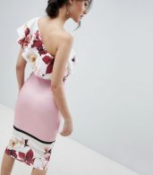 photo One Shoulder Midi Bodycon Dress in Placement Print by True Violet, color Pink Floral - Image 2