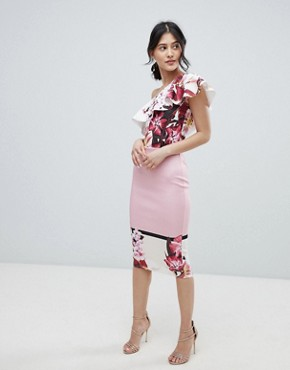 photo One Shoulder Midi Bodycon Dress in Placement Print by True Violet, color Pink Floral - Image 4