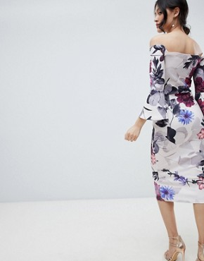 photo Bardot Midi Dress with Frill Sleeve in Floral Print by True Violet, color Grey/Purple Floral - Image 2