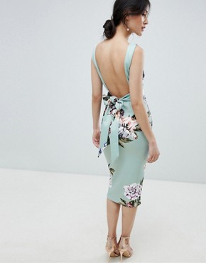 photo Bow Back Sleeveless Midi Bodycon Dress in Floral Print by True Violet, color Mint Floral - Image 2