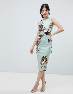 photo Bow Back Sleeveless Midi Bodycon Dress in Floral Print by True Violet, color Mint Floral - Image 1