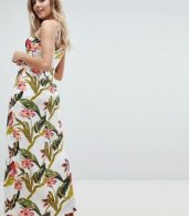 photo Floral Split Detail Maxi Dress by Missguided, color White - Image 2