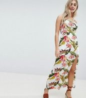 photo Floral Split Detail Maxi Dress by Missguided, color White - Image 1